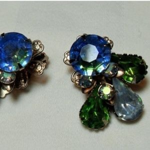 Blue Green Cathe' rhinestone earrings High Fashion